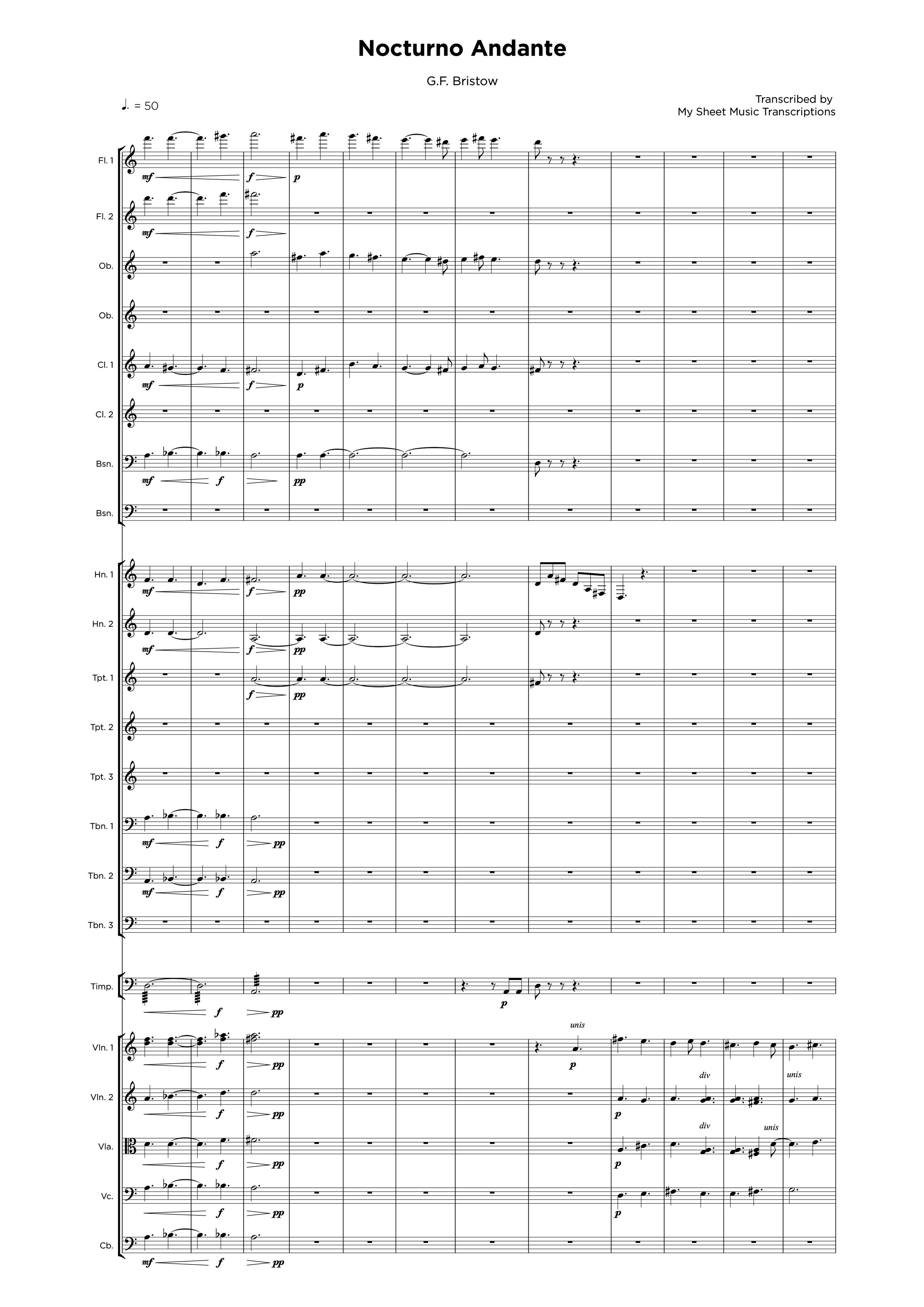 Nocturno Andante - Transcripción de partitura para orquestraciones