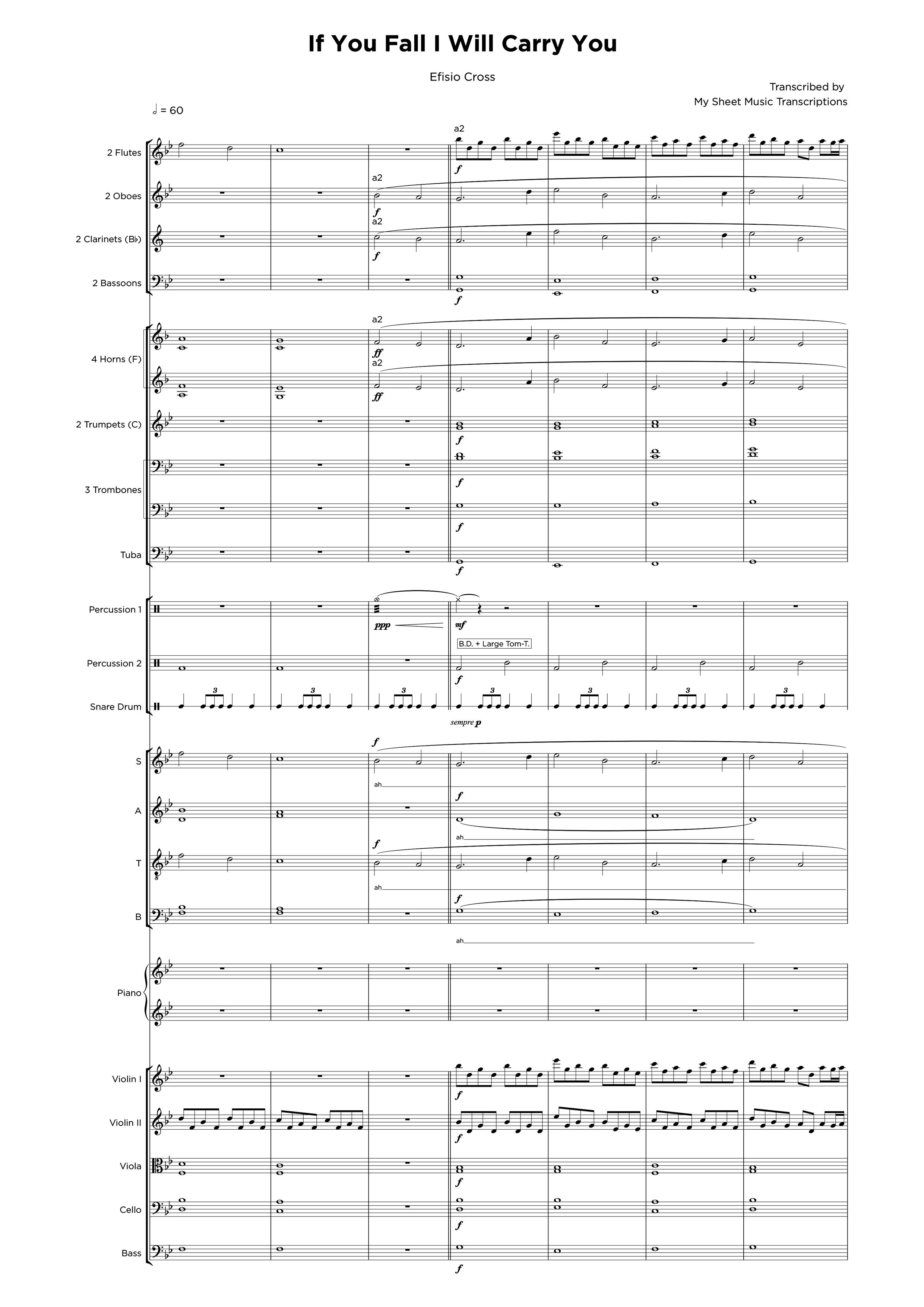 If you fall I willy carry you - Transcripción de partitura para orquestraciones