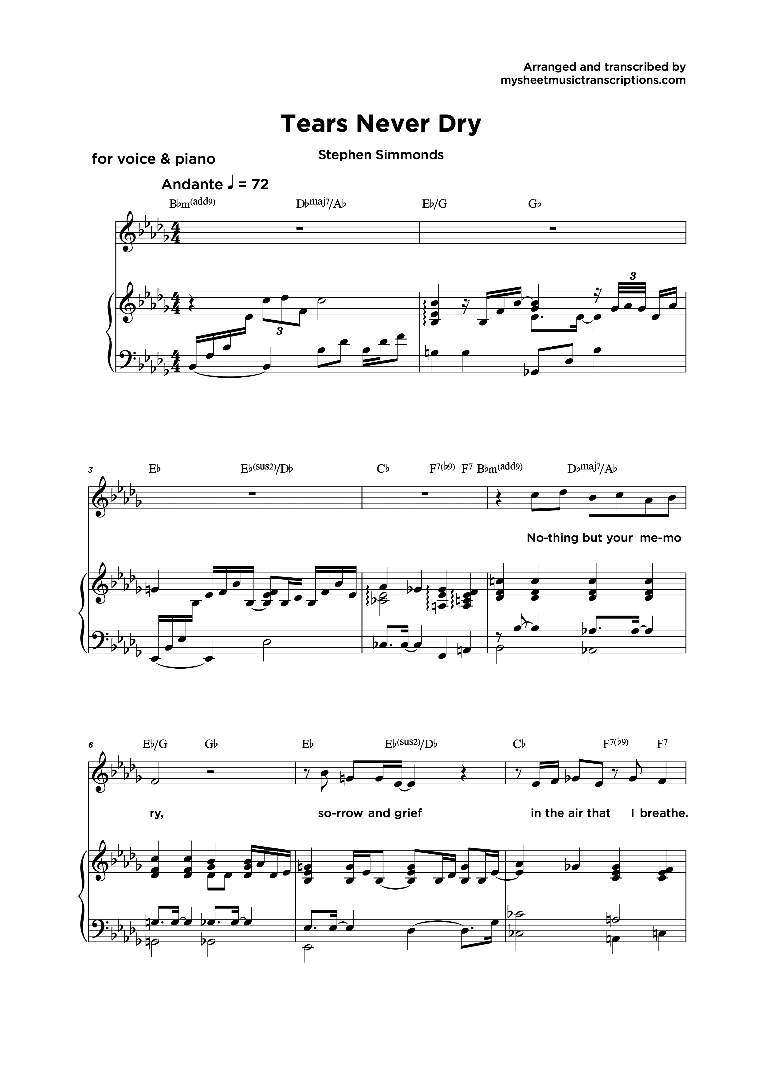 Tears Never Dry - Partitura para piano y vocal