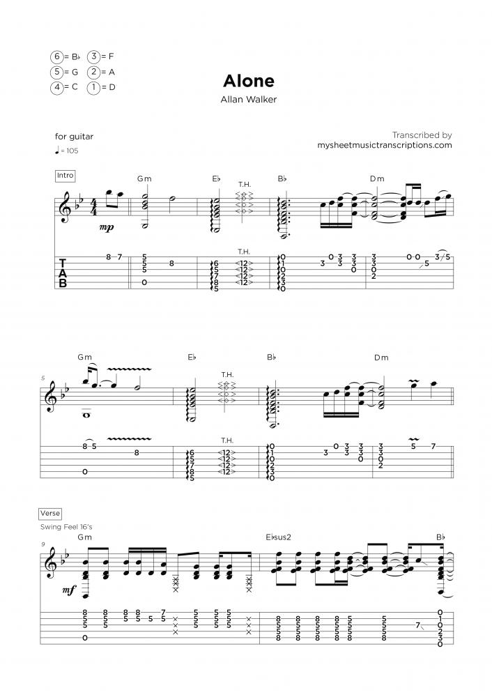 Alone - Transcripción de partitura para guitarra