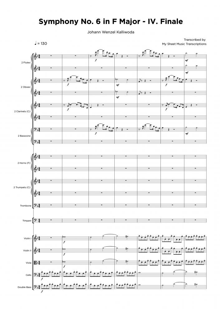 Symphony No. 6 in F Major - IV. Finale - Transcripción de partitura para orquestraciones
